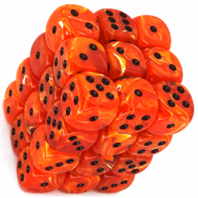 Orange & Black Vortex 12mm D6 Dice Block